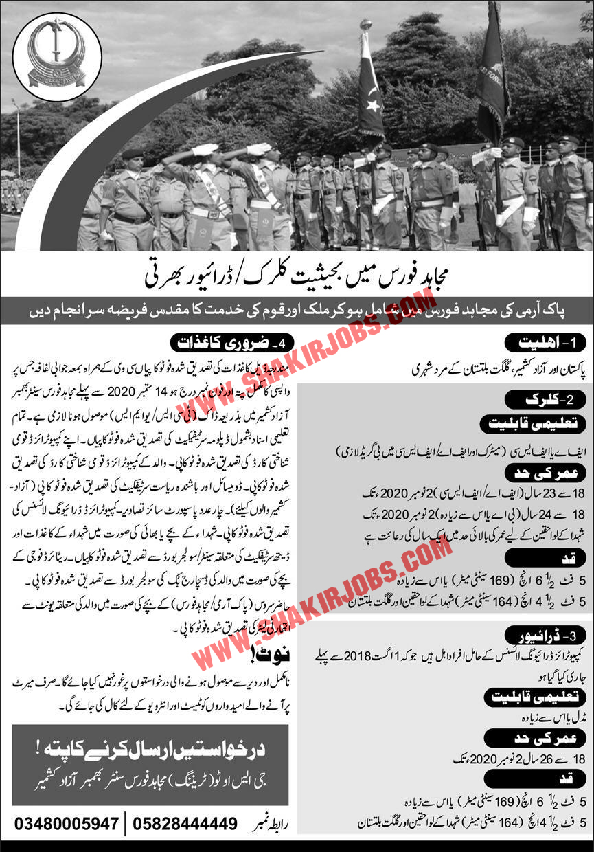 Jobs in Pakistan Army Mujahid Force Jobs September 2020 (750 Posts)