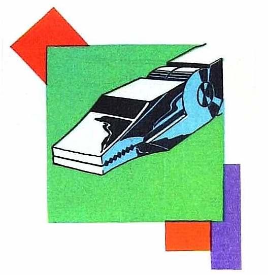 a 1930 art deco metal clamp color illustration