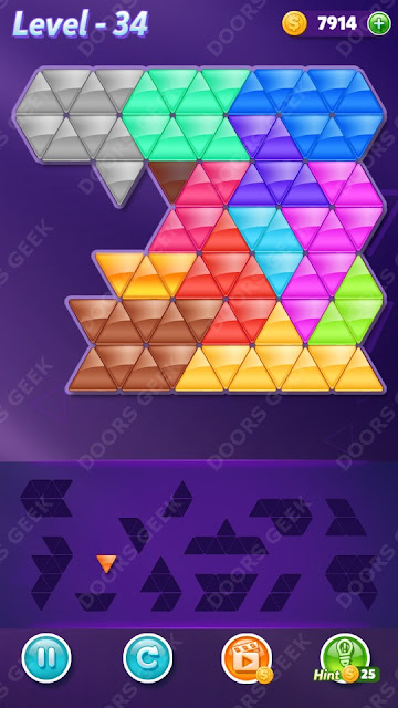 Block! Triangle Puzzle Champion Level 34 Solution, Cheats, Walkthrough for Android, iPhone, iPad and iPod