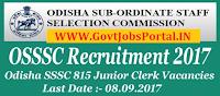 Sub-Ordinate Staff Selection Commission Recruitment 2017– 815 Junior Clerk