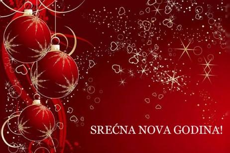 Čestitke za Novu godinu: Srećna Nova godina, crvena Novogodišnja čestitka