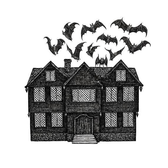 dark art, haunted house, bats