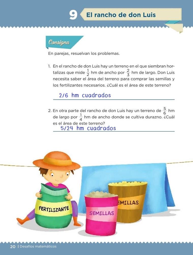 Libro de textoDesafíos MatemáticosEl rancho de don LuisSexto gradoContestado