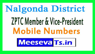 ZPTC Member & Vice-President Mobile Numbers List Nalgonda District in Telangana State