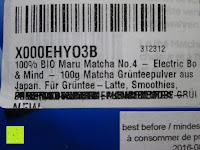 Etikett: 100g Original Japanischer BIO Matcha Pulver aus Uji Japan - Für Grüntee-Latte, Coldbrew Matcha, Smoothies, Backen. 0,16/Portion
