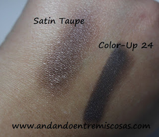 Swatches, Satin Taupe y Color-Up 24