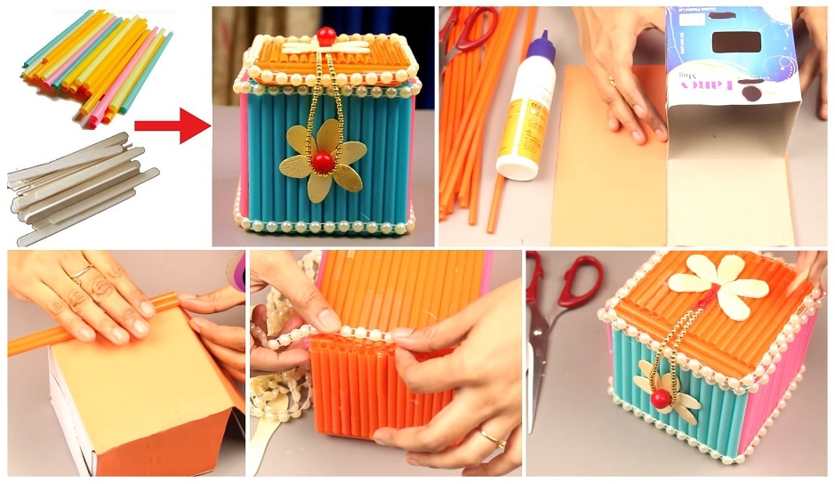 How to make jewellery box at home with waste material for Waste material craft work with paper