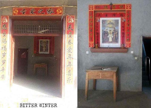 Telecâmeras espionam locais de encontro dos fiéis como esta igrejinha clandestina em Qiuxi