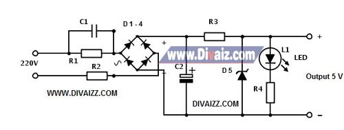 Skema adaptor 5 V tanpa trafo - www.divaiz.com