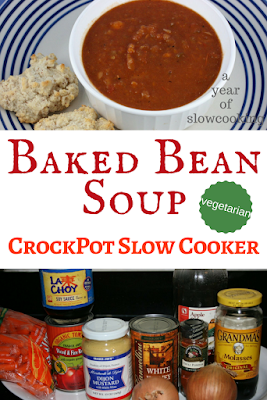 A super delicious and hearty vegetarian and vegan bean soup that tastes smoky and amazing. Made in the crockpot slow cooker. It tastes just like you'd imagine a can of blended pork and beans to taste, except better.