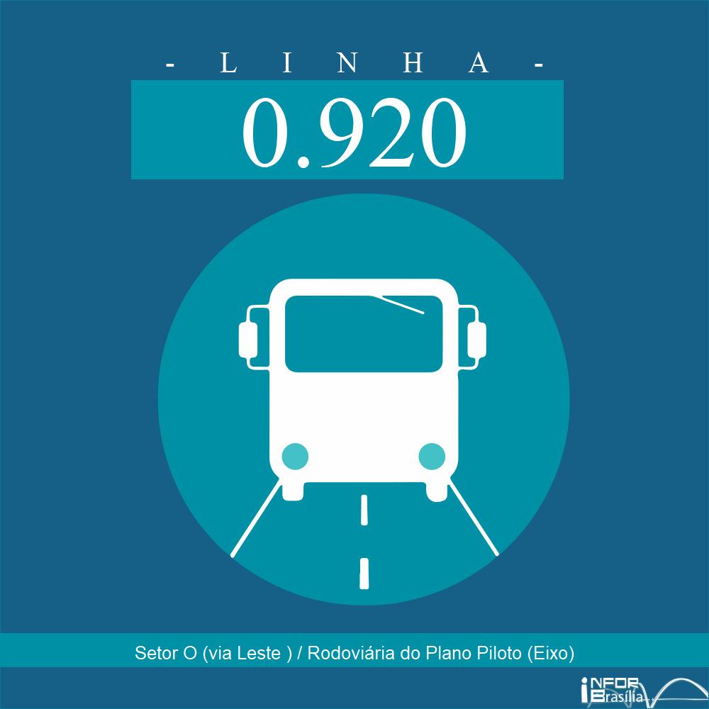 Horário de ônibus e itinerário 0.920 - Setor O (via Leste ) / Rodoviária do Plano Piloto (Eixo)
