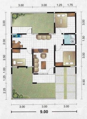 Contoh Gambar Denah Rumah Minimalis 1 Lantai 3 Kamar