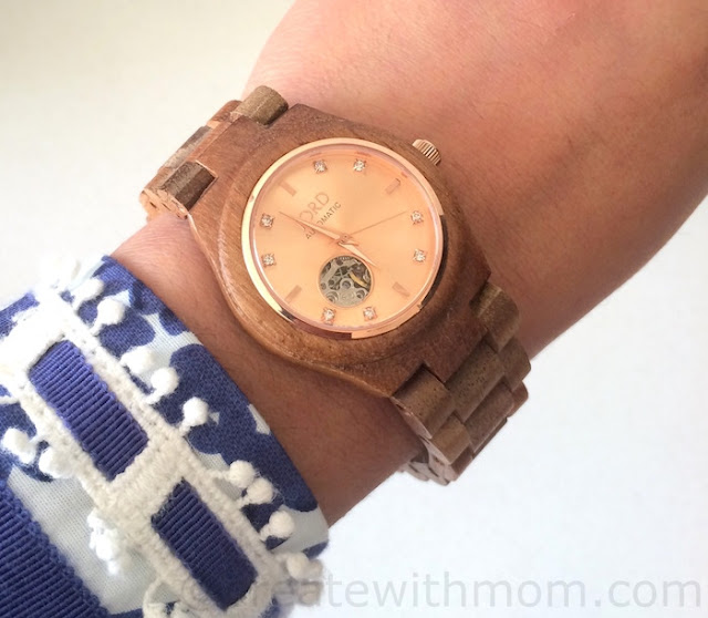 Cora Koa and Rose Gold Jord wrist watch