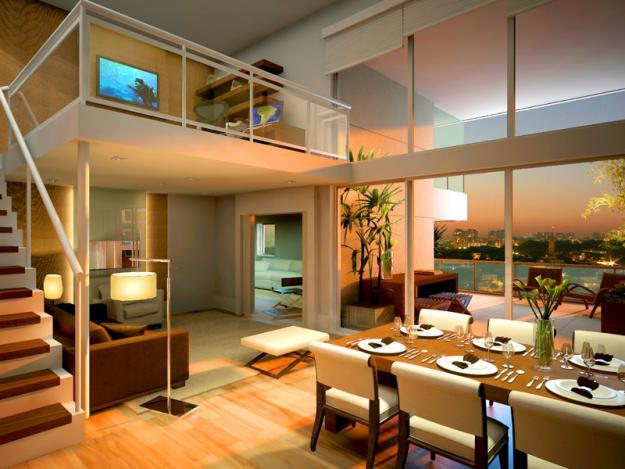 Mezanino Com Sala De Tv ~ 23 Mezanino como sala de TV e home office! Guardacorpo de ferro com