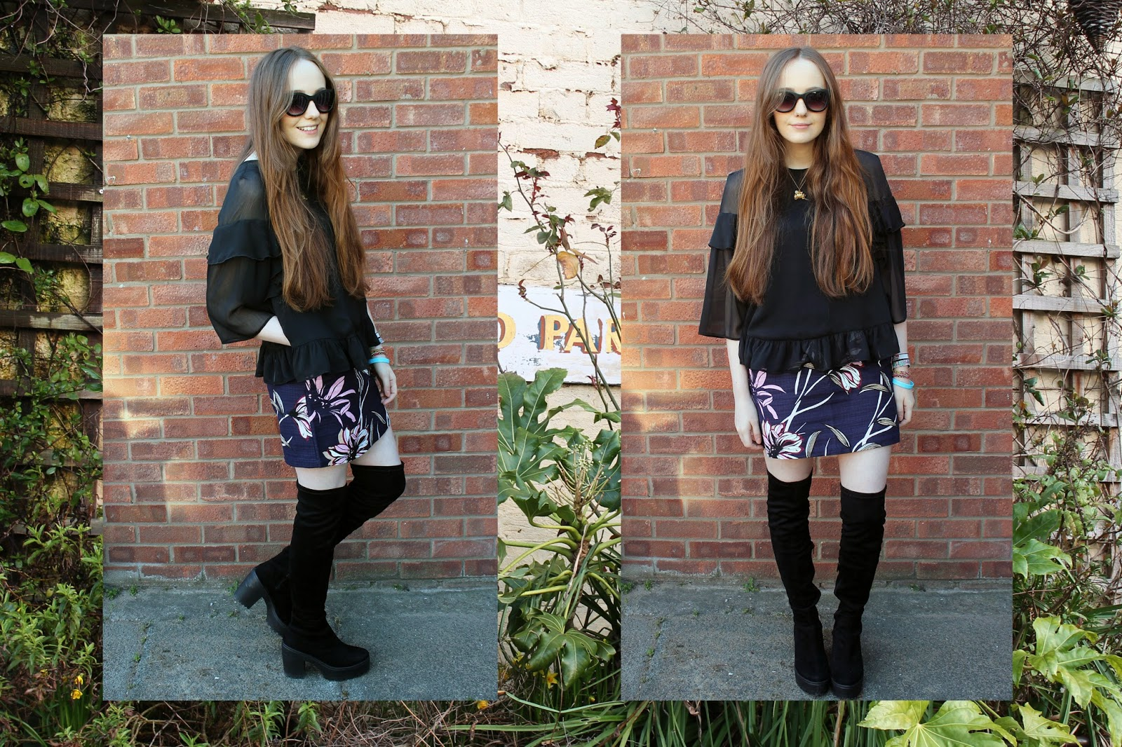 warehouse urban garden party outfit ootd featuring black sheer ruffle blouse, floral a line skirt and suede over the knee boots