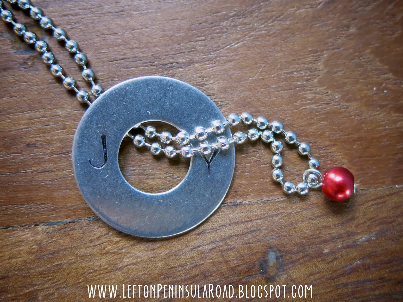 Make it hand stamped joy pendant left on peninsula road pull the bead and chain through the center of the washer from back to front feed the clasp end of the ball chain up through the loop creating a slip knot aloadofball Images