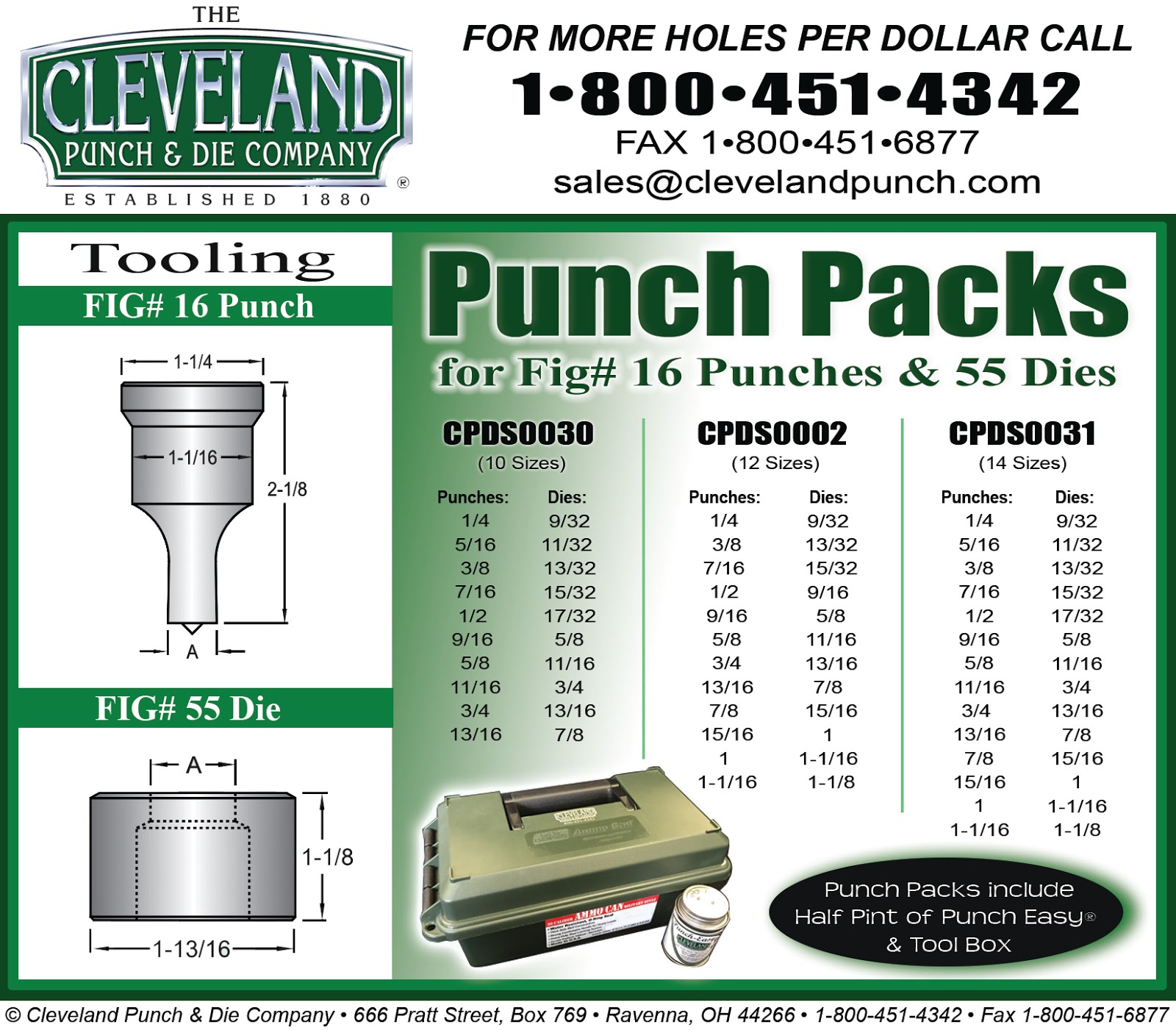 CLEVELAND PUNCH /& DIE COMPANY FIG 44 11//32 ROUND PUNCH