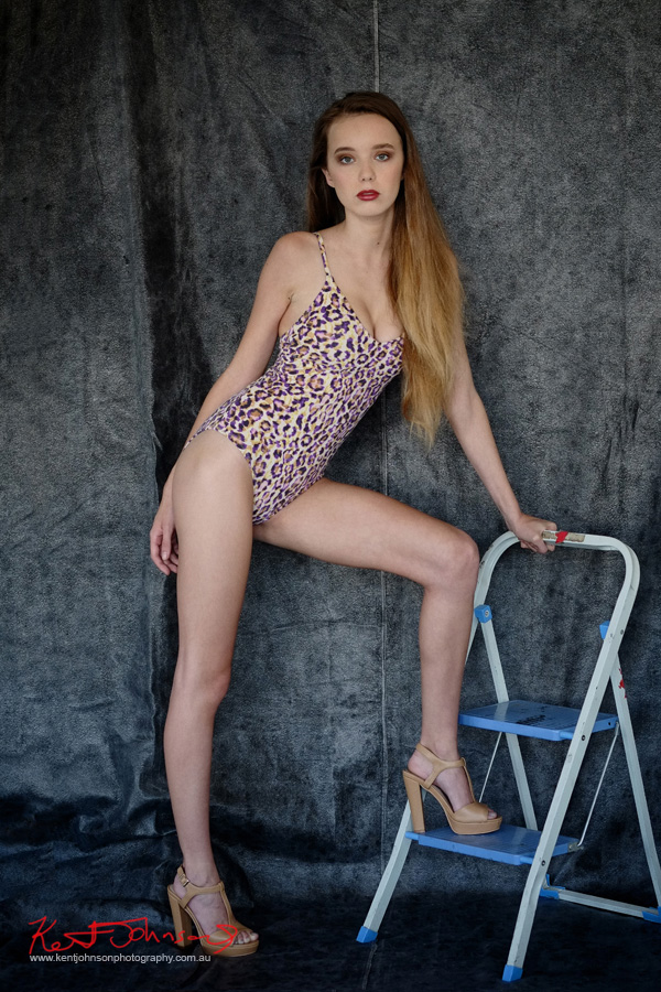 Long legs, animal print one piece leotard. Modelling portfolio photoshoot by Kent Johnson Photography, Sydney, Australia.