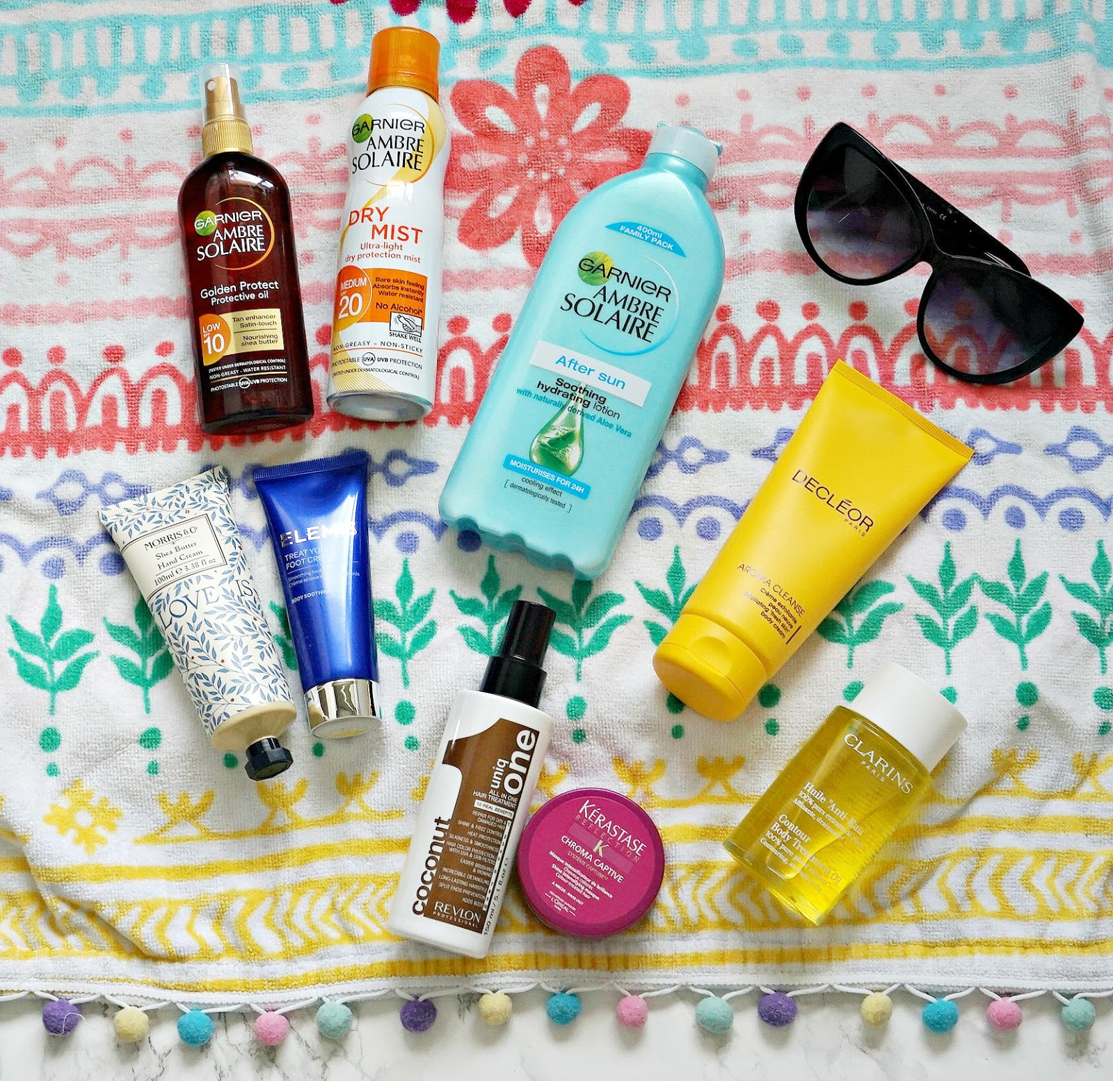 Ambre Solaire SPF, Elemis Foot Cream, Kérastase Chroma Captive Hair Mask, Uniq One 10 in 1 Hair Treatment, Clarins Contour Body Oil, Ambre Solaire Aftersun, Decleor Aroma Cleanse, Review, Sun holiday essentials, Fragrance Direct
