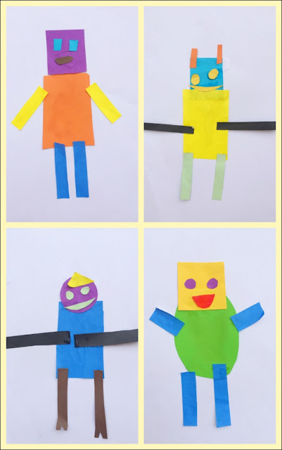 'Shape Robots' made with simple shapes cut out from coloured paper - great activity for preschoolers!