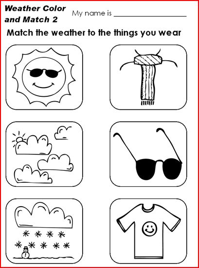 Fichas de Inglés para niños: Weather worksheets for children