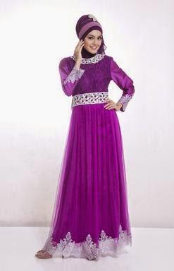 Contoh model baju muslim untuk pesta ungu