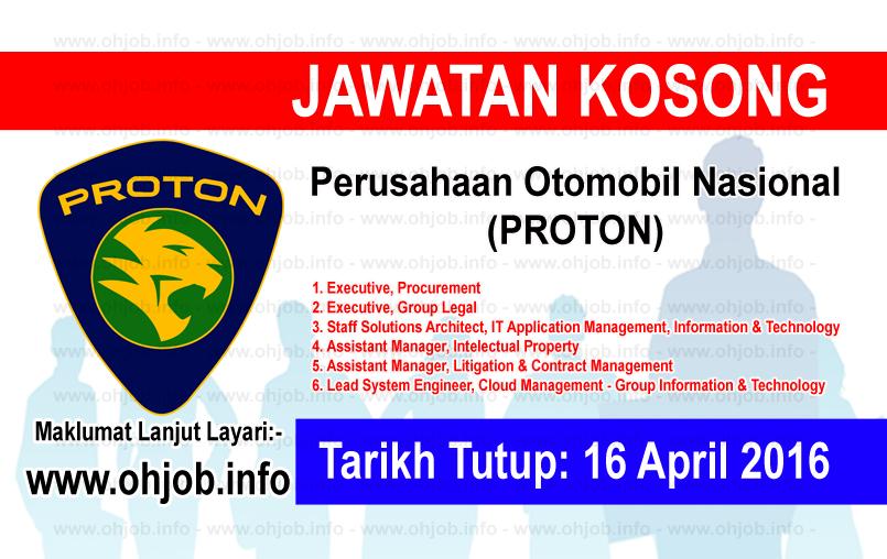 Jawatan Kerja Kosong Perusahaan Otomobil Nasional (PROTON) logo www.ohjob.info april 2016
