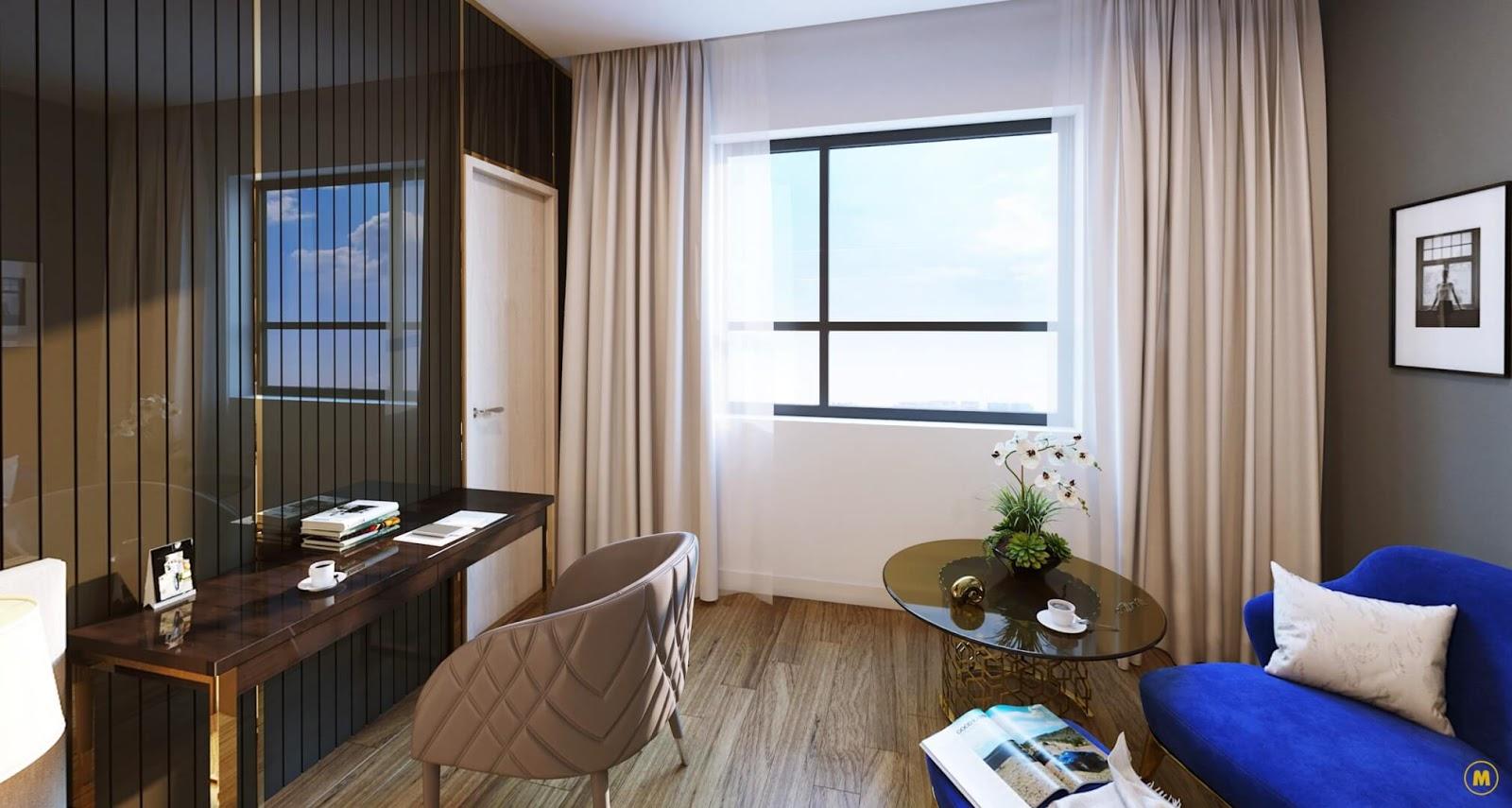 Không gian phòng ngủ Amber Riverside thiết kế thoáng đãng