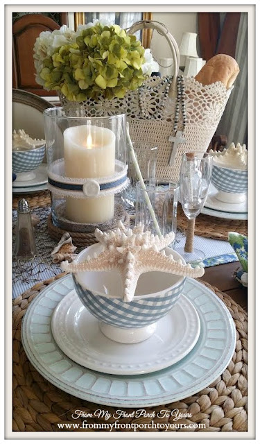 Nautical Dining Room-Table Setting- Gingham Bowls- From My Front Porch To Yours
