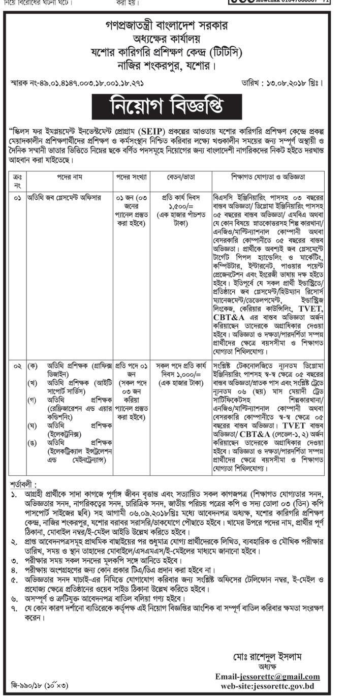 Jessore Technical Training Teacher job Circular 2018