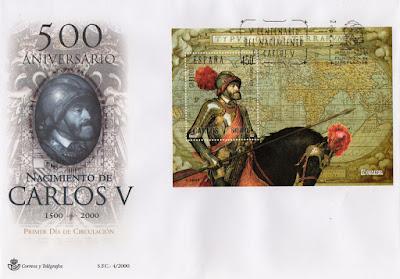 Sobre PDC de la hoja bloque dedicada al 500 aniversario del nacimiento de Carlos V