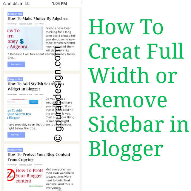 creat full width page and remove sidebar
