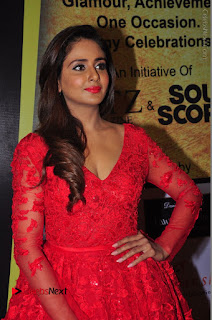 Actress Model Parul Yadav Stills in Red Long Dress at South Scope Lifestyle Awards 2016 Red Carpet  0054.JPG