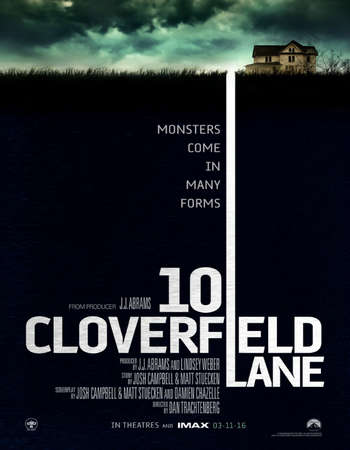 Poster Of 10 Cloverfield Lane 2016 English 350MB BRRip 720p ESubs HEVC Free Download Watch Online Worldfree4u