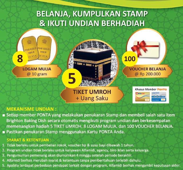 kumpulkan stamp dan ikuti undian berhadiah Umroh, logam mulia dan voucher belanja