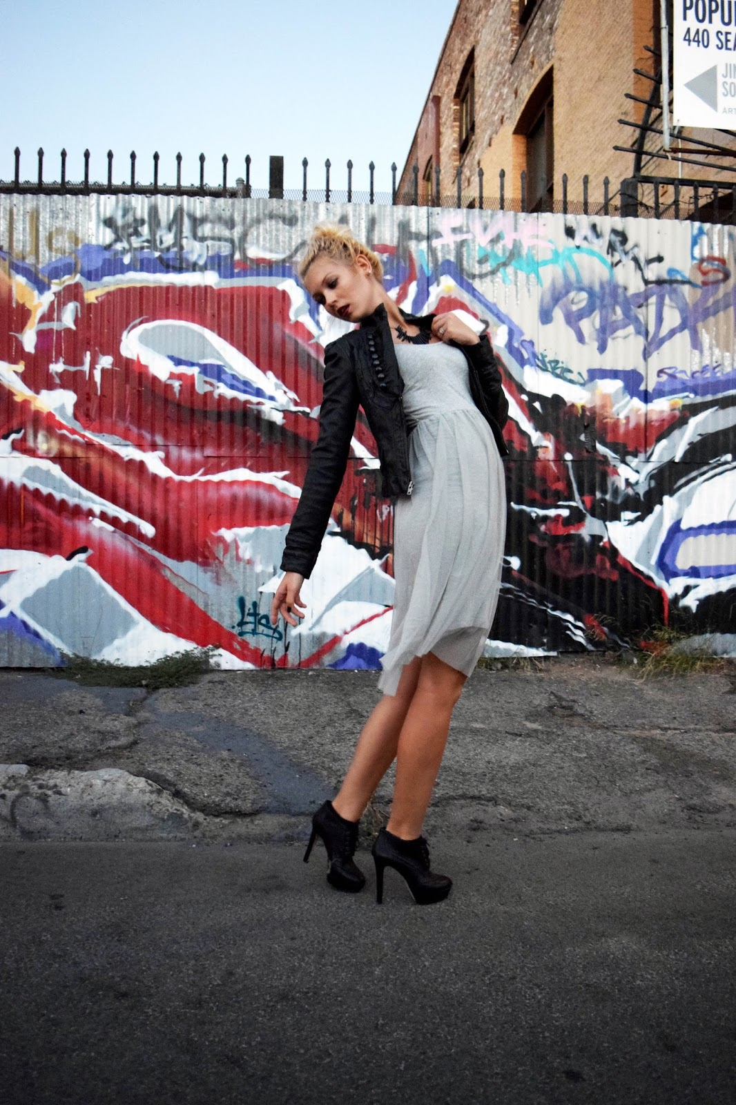 Halloween, Halloween look, leather jacket, tulle dress, grey, black, edgy, arts district