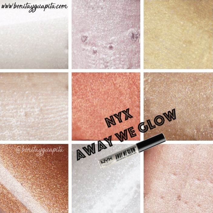 swatches iluminadores away we glow nyx