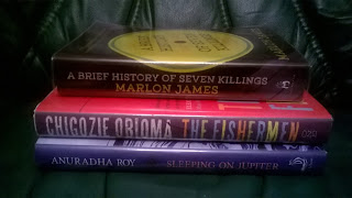 A Brief History of Seven Killing by Marlon James, The Fishermen by Chigozie Obioma, Sleeping on Jupiter by Anuradha Roy