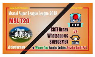 Today Match Prediction Cape Town vs Nelson Mandela MSL 2018 12th