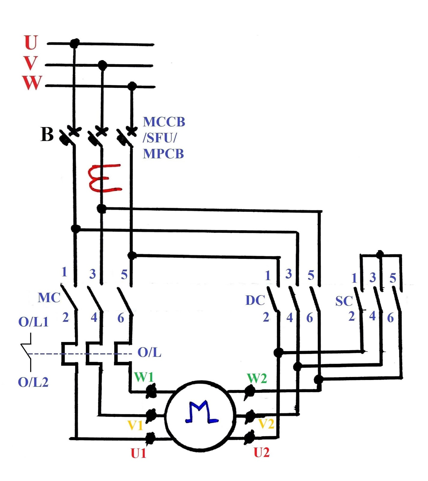 automatic star delta starter power circuit diagram [ 1426 x 1600 Pixel ]