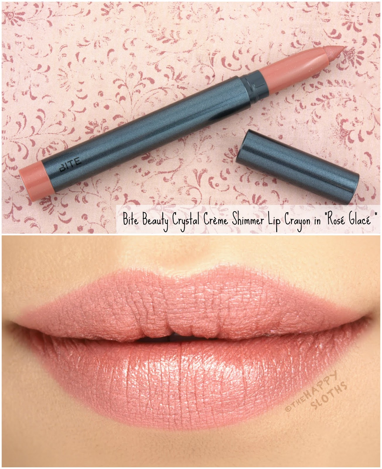 "Bite Beauty | Crystal Crème Shimmer Lip Crayon in ""Rose Glace"": Review and Swatches"