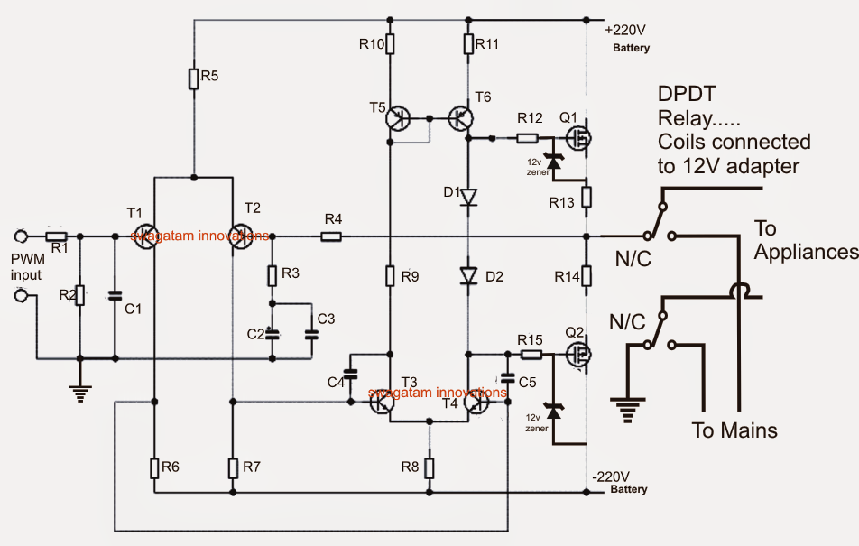 1000 watt ups circuit diagram