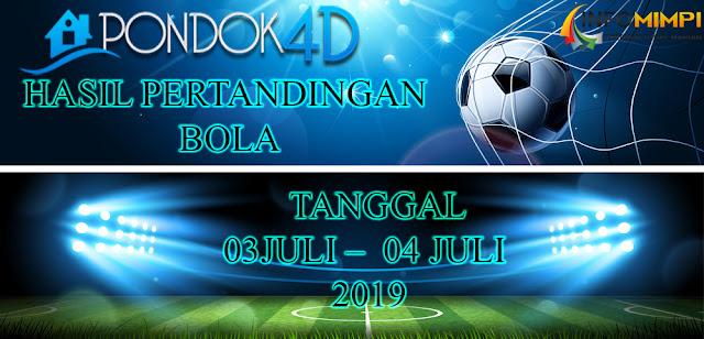 HASIL PERTANDINGAN BOLA TANGGAL 03JULI –  04 JULI 2019