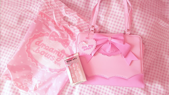 Dreamy bows ruffle Ribbon Tote bag pink glitter gems bows deco nails review