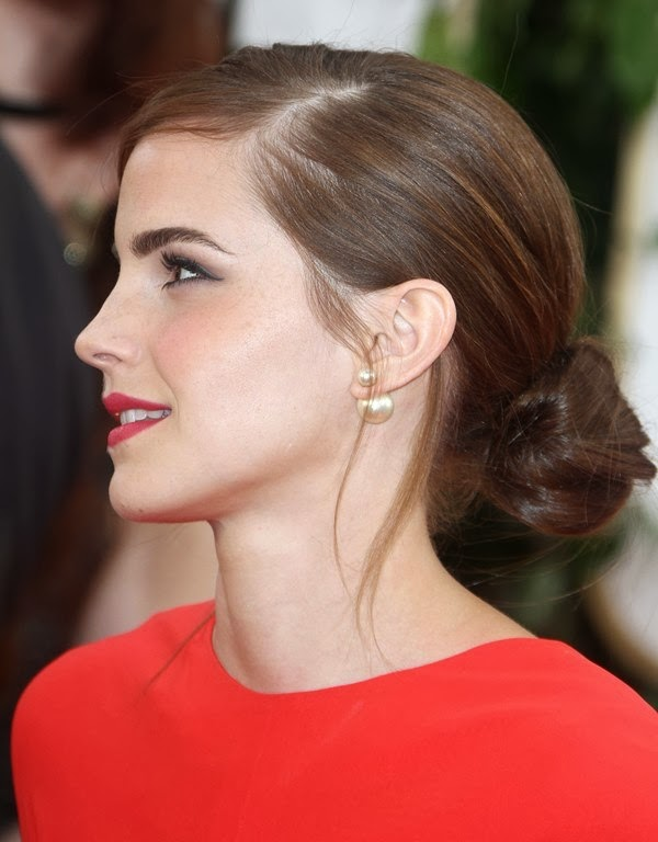 Emma Watson's Golden Globes 2014 chignon hairdo from the side