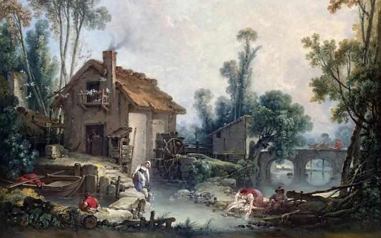 François Boucher - Landscape with a Watermill