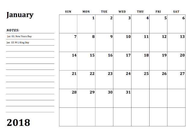 2018 Monthly Calendar Template, Monthly calendar 2018 , Free Printable 2018 Monthly Calendar, 2018 Monthly Calendar Printable,