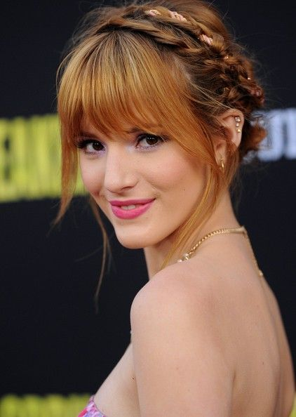 Braided hairstyle with bangs
