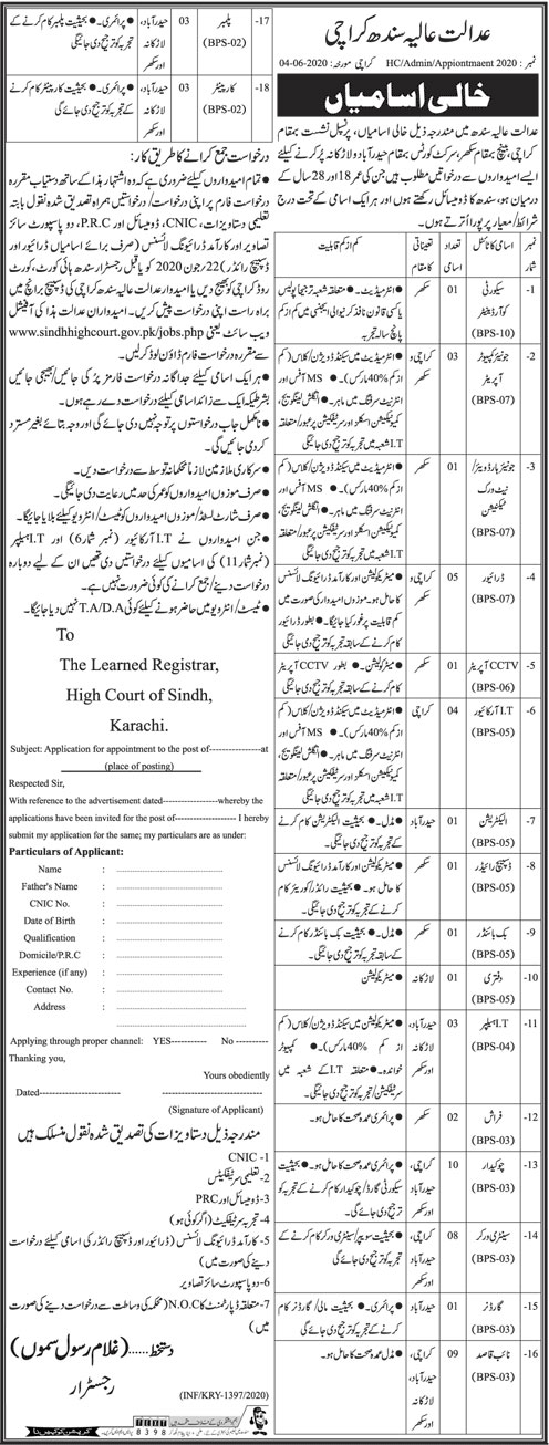 Jobs in High Court of Sindh June 2020