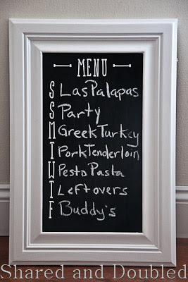 Cabinet Door Menu Board